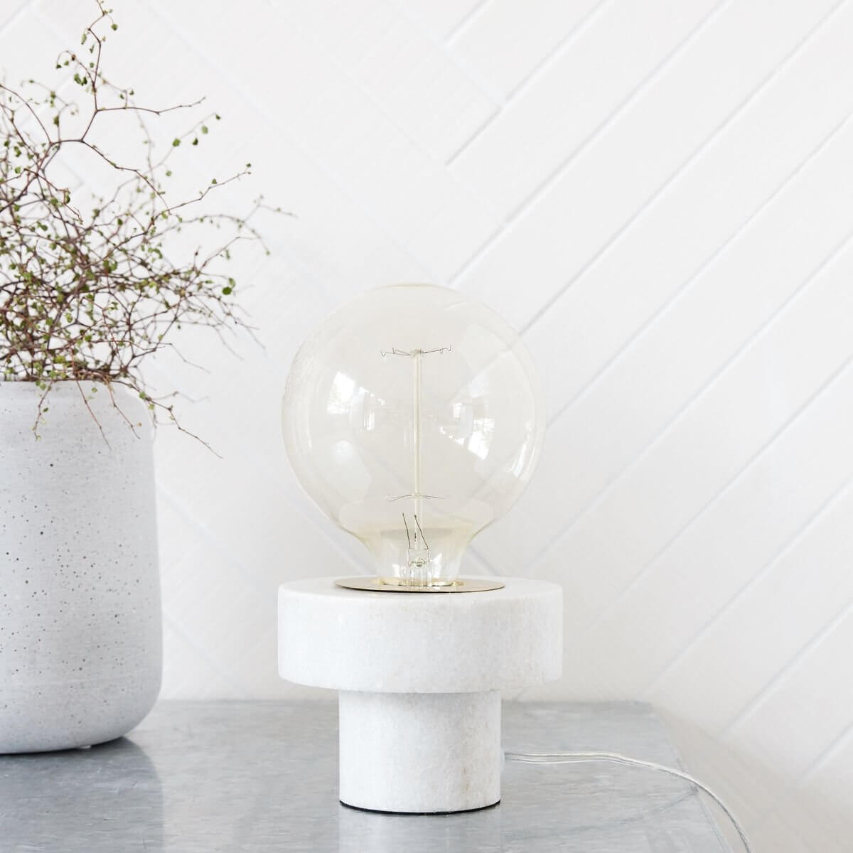 White Marble Table Lamp - save 30%