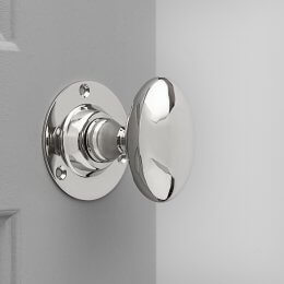 Oval Door Knobs (Pair) - Nickel