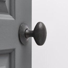 Oval Forged Door Knobs (Pair) - Black Waxed (Internal/External)