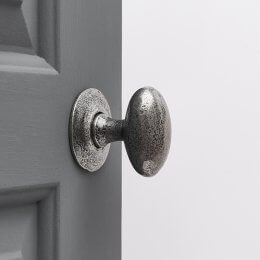Hand Forged Oval Door Knobs (Pair) - Pewter