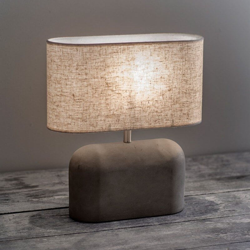 Concrete Table Lamp (Wide) With Linen Shade SAVE 15%