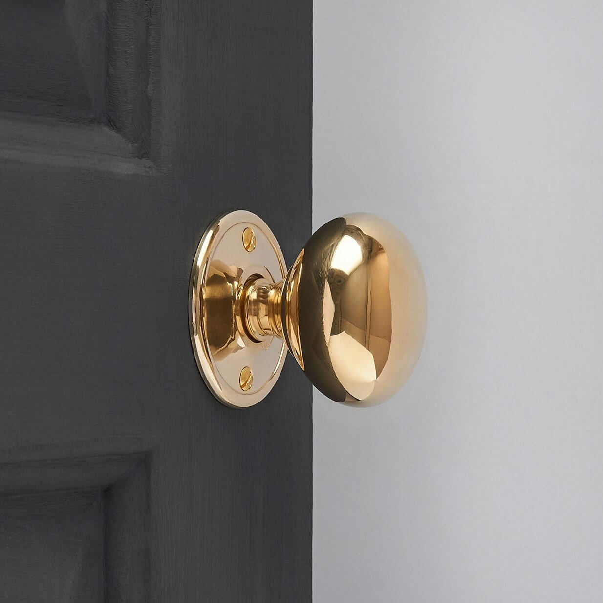Cottage Mortice/Rim Knob Set (Pair) - Polished Brass - Large