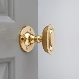 Raised Oval Door Knobs - Polished Brass