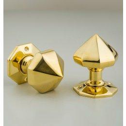 Pointed Octagonal Door Knobs (Pair) - Brass
