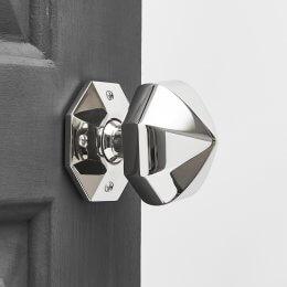 Pointed Octagonal Door Knobs (Pair) - Polished Nickel