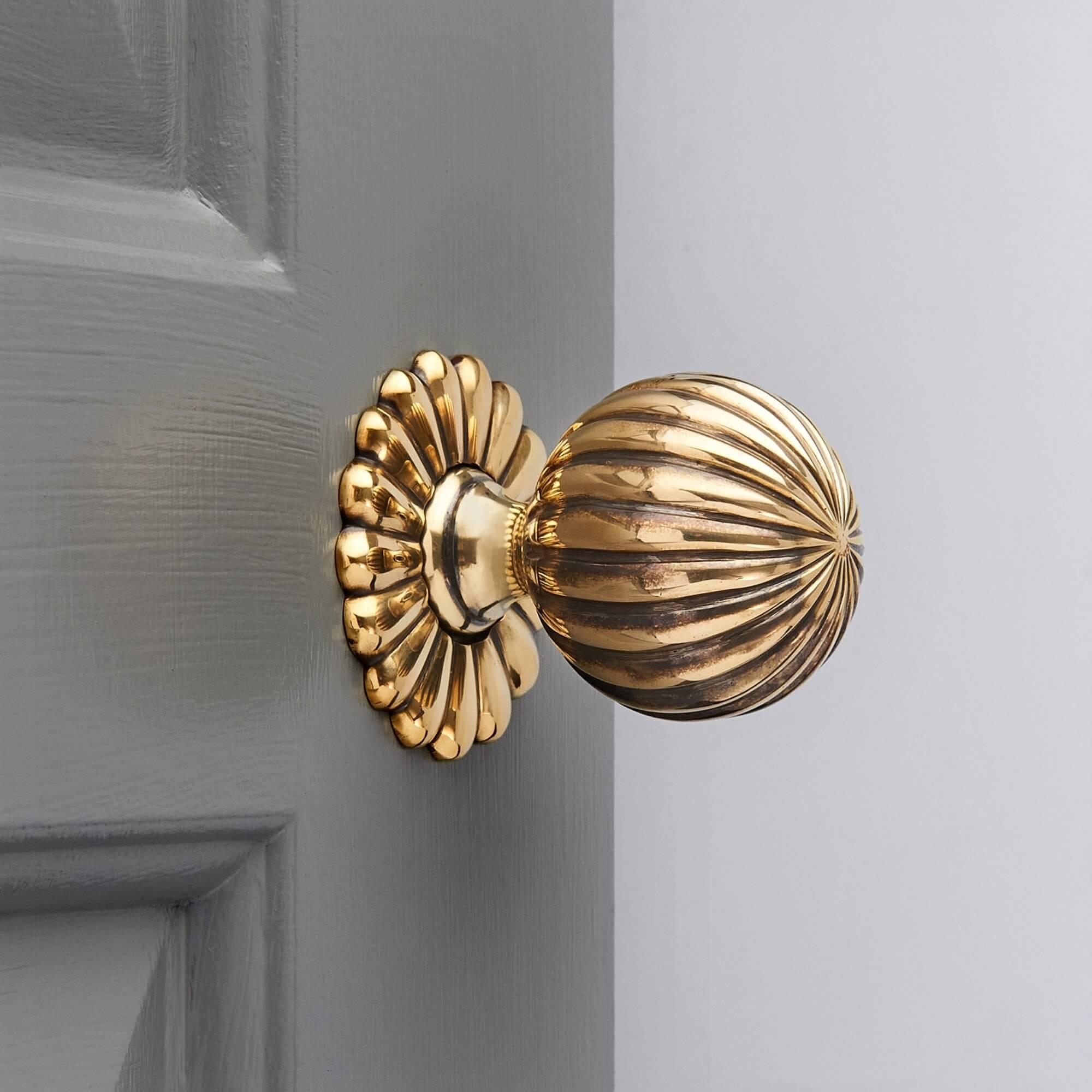 Flower Door Knobs (Pair) - Brass