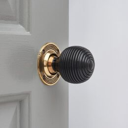 Ebony Wood Beehive Door Knobs (Pair) - Aged Brass Collar & Rose - SAVE 25%