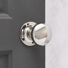 Cushion Door Knobs (Pair) - Polished Nickel