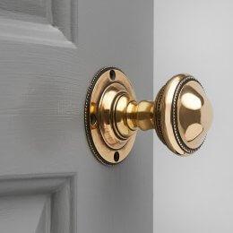 Beaded Edge Regency Door Knobs (Pair) - Brass