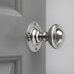 Beaded Edge Regency Door Knobs (Pair) - Polished Nickel