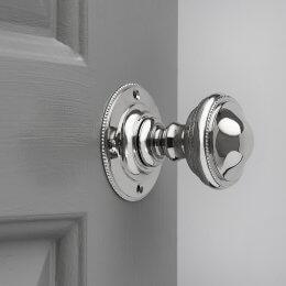 Beaded Edge Regency Door Knobs (Pair) - Polished Nickel