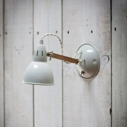 Steel & Oak Wall Light - Chalk SAVE 50%