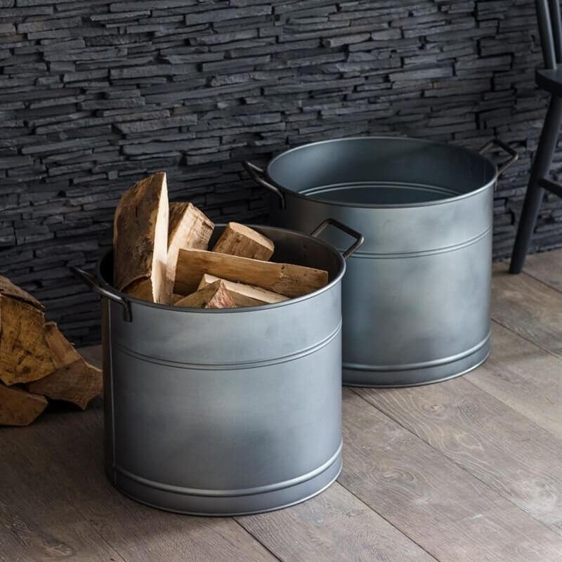 Log Bucket (Set Of 2) - Galvanised Steel