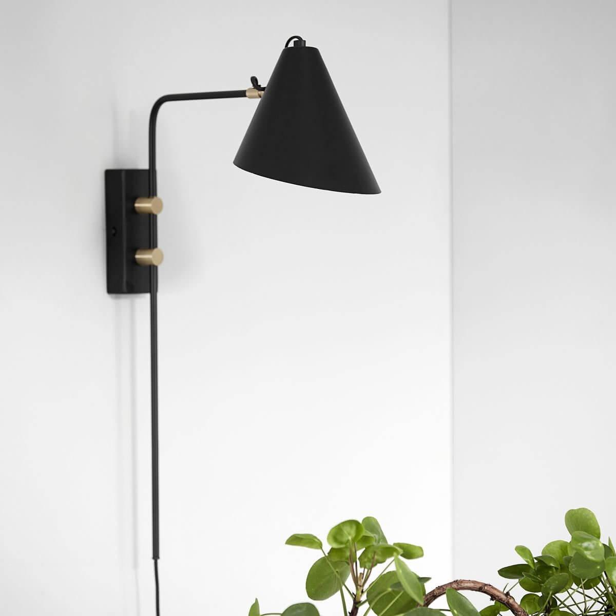 Black & Brass Angle Wall Light