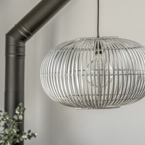 Bamboo Pendant Light Shade - Silver Grey save 40%