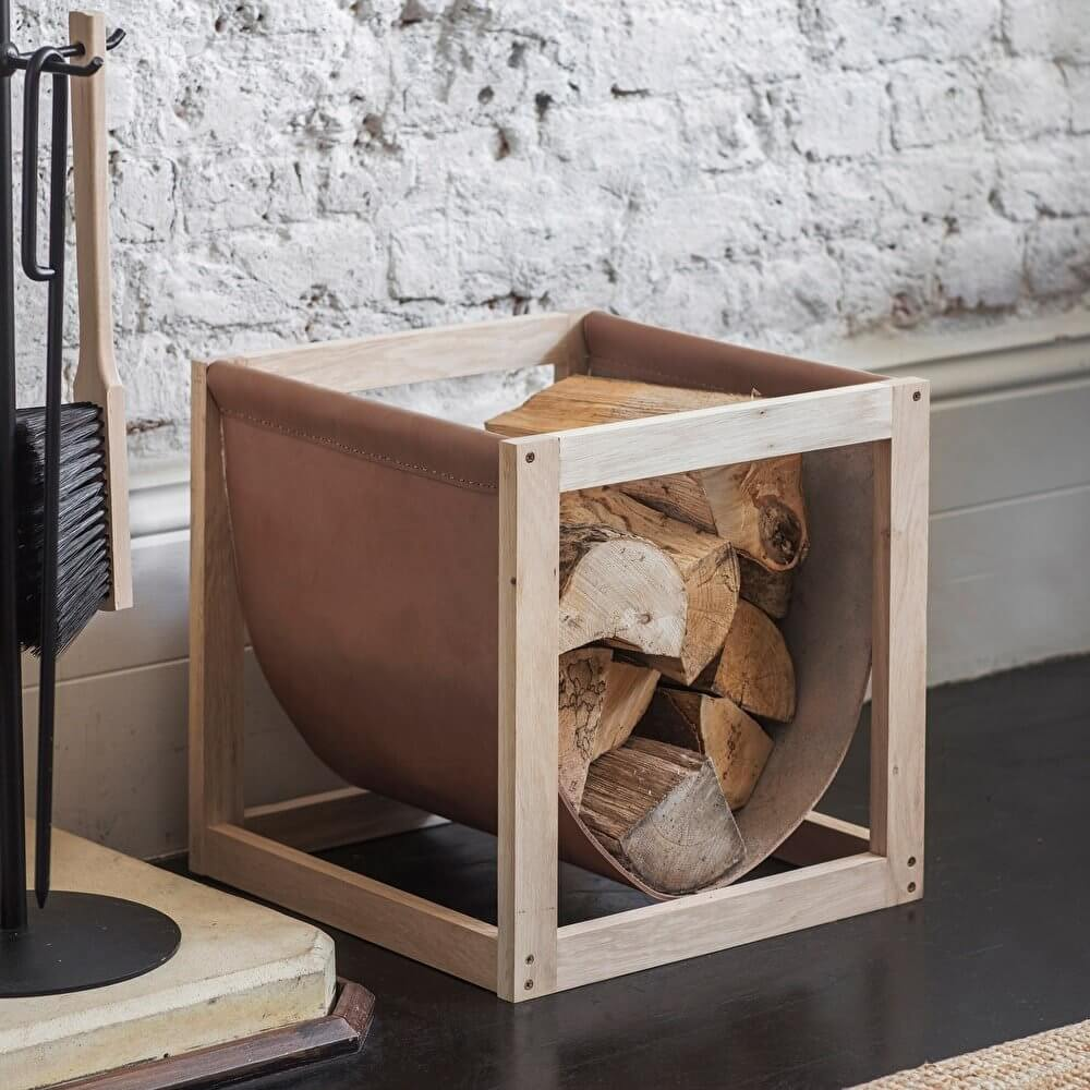 Oak & Leather Log Holder