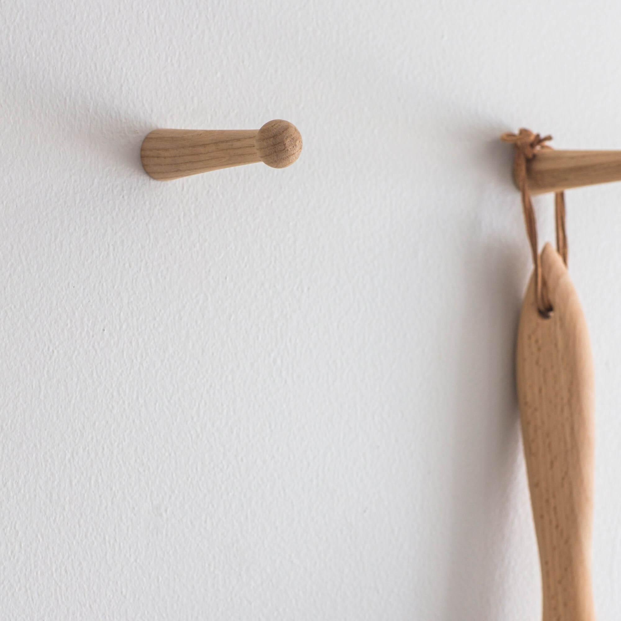 Oak Peg Hooks - Set of 2