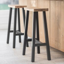 Curved Oak Bar Stool - Carbon