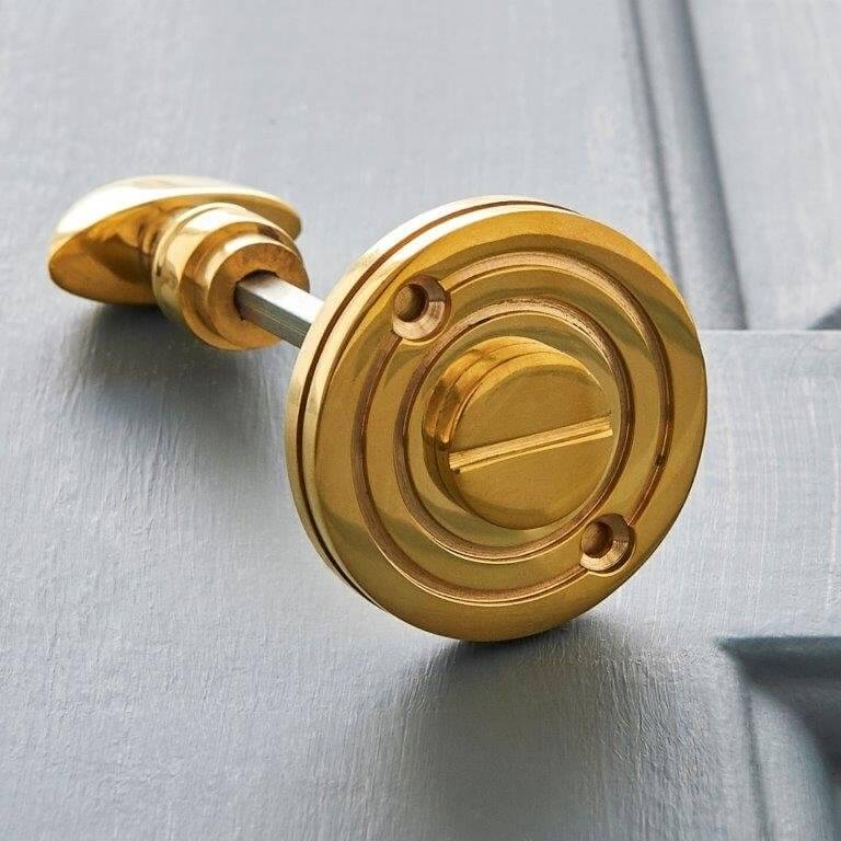 Round Bathroom Turn & Release - Polished Brass