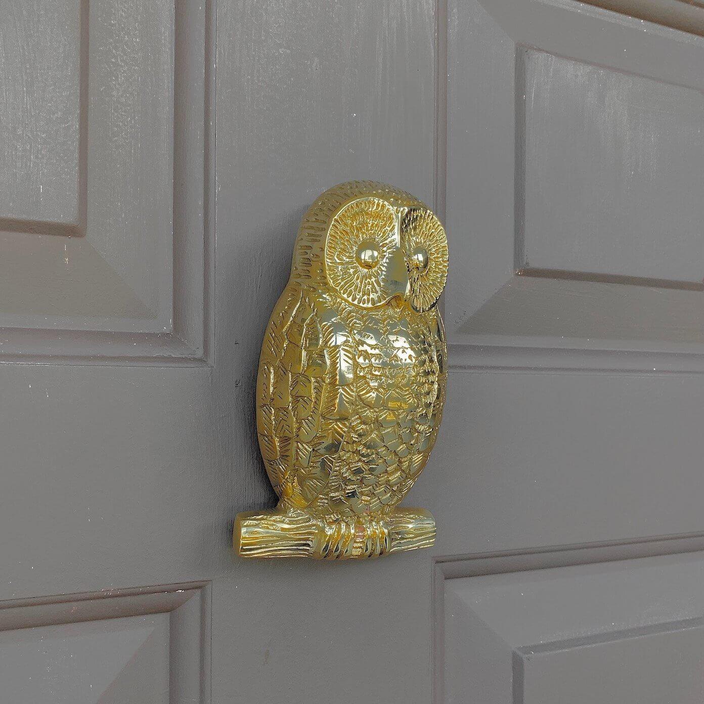 Owl Door Knocker - Brass