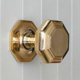 Octagonal Door Pull (Large) -  Brass