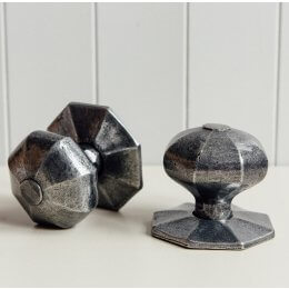 Hand Forged Octagonal Large Door Knobs (Pair) - Pewter