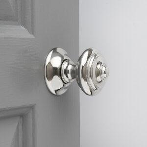 Regency-Style  Concealed Screw Door Knobs (Pair) - Nickel