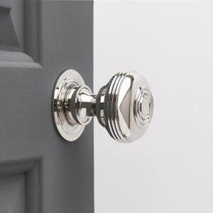 Regency-Style Large Door Knobs (Pair) - Nickel