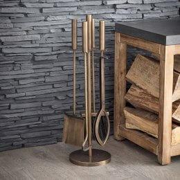 Antique Brass Fireside Tool Set
