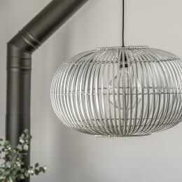 Bamboo Pendant Light Shade - Silver Grey save 40%