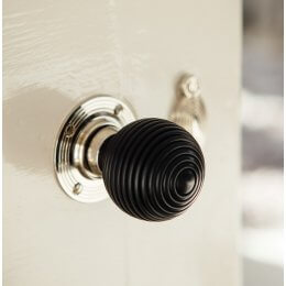 Ebony Wood Beehive Door Knobs (Pair) - Nickel Collar & Rose