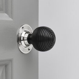 Ebony Wood Beehive Door Knobs (Pair) - Chrome Collar & Rose