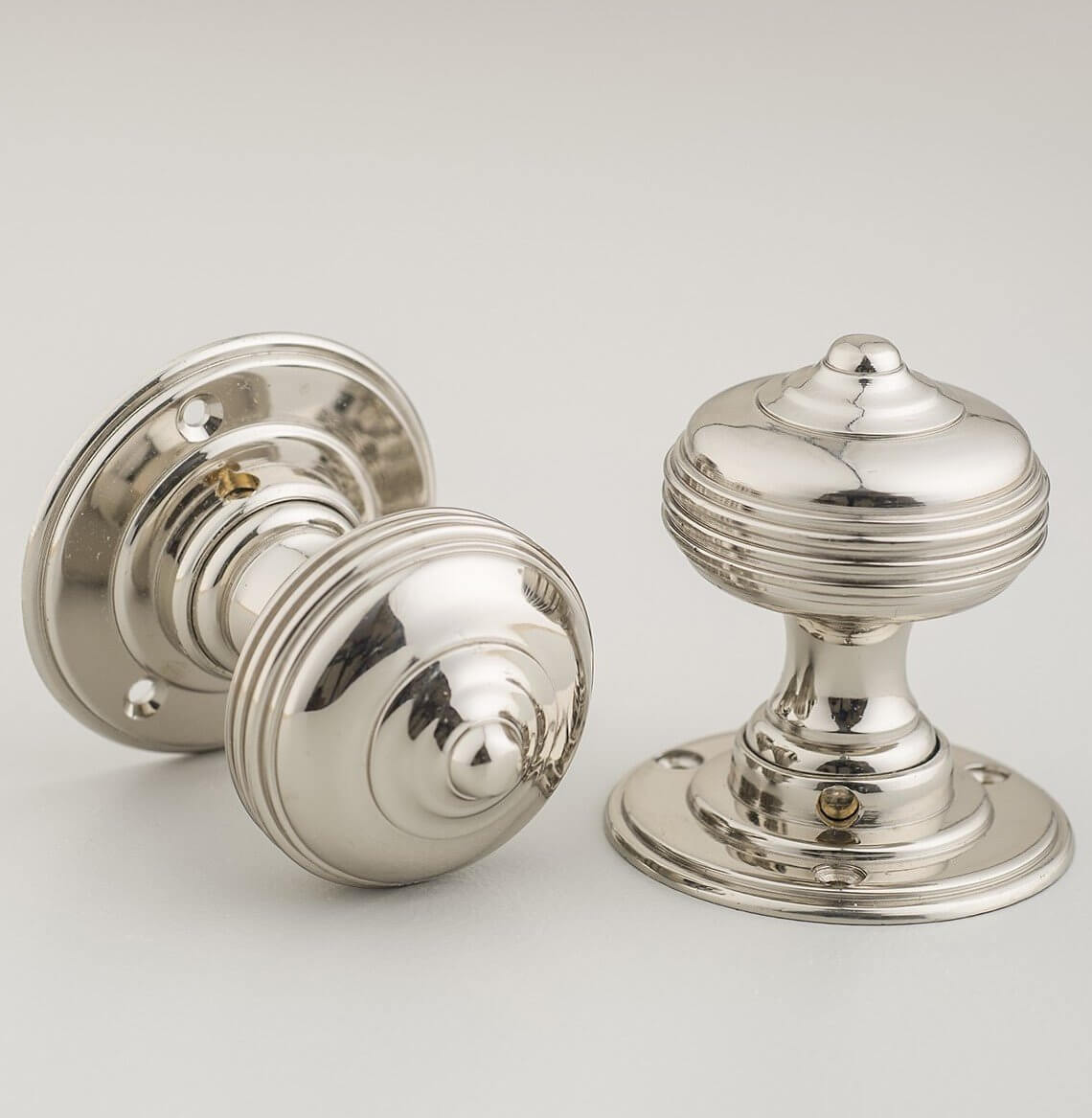 Queen Anne Regency Door Knobs (Pair) - Nickel - ONLY 1 PAIR