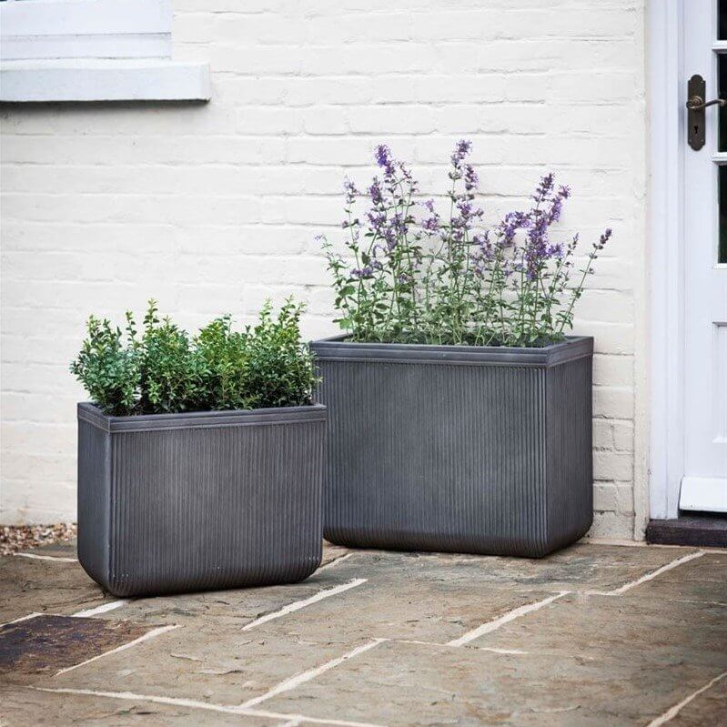 Fibre Clay Rectangular Planter - Set of 2