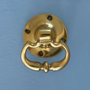 Dutch Drop Ring Door Handles - Brass