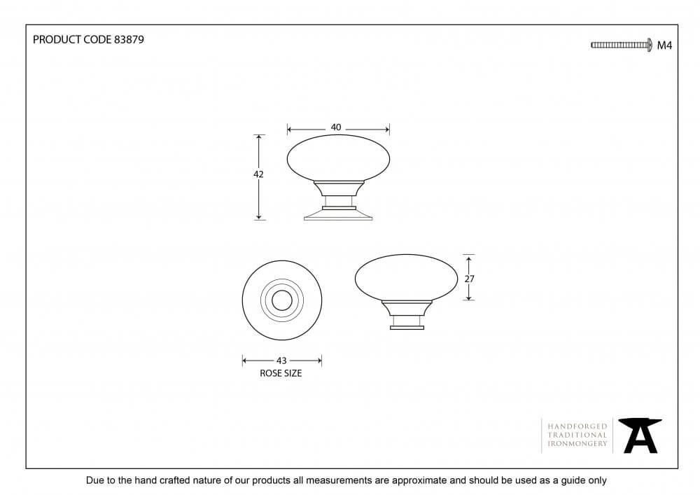 Polished Brass Oval Cabinet Knob - Large image
