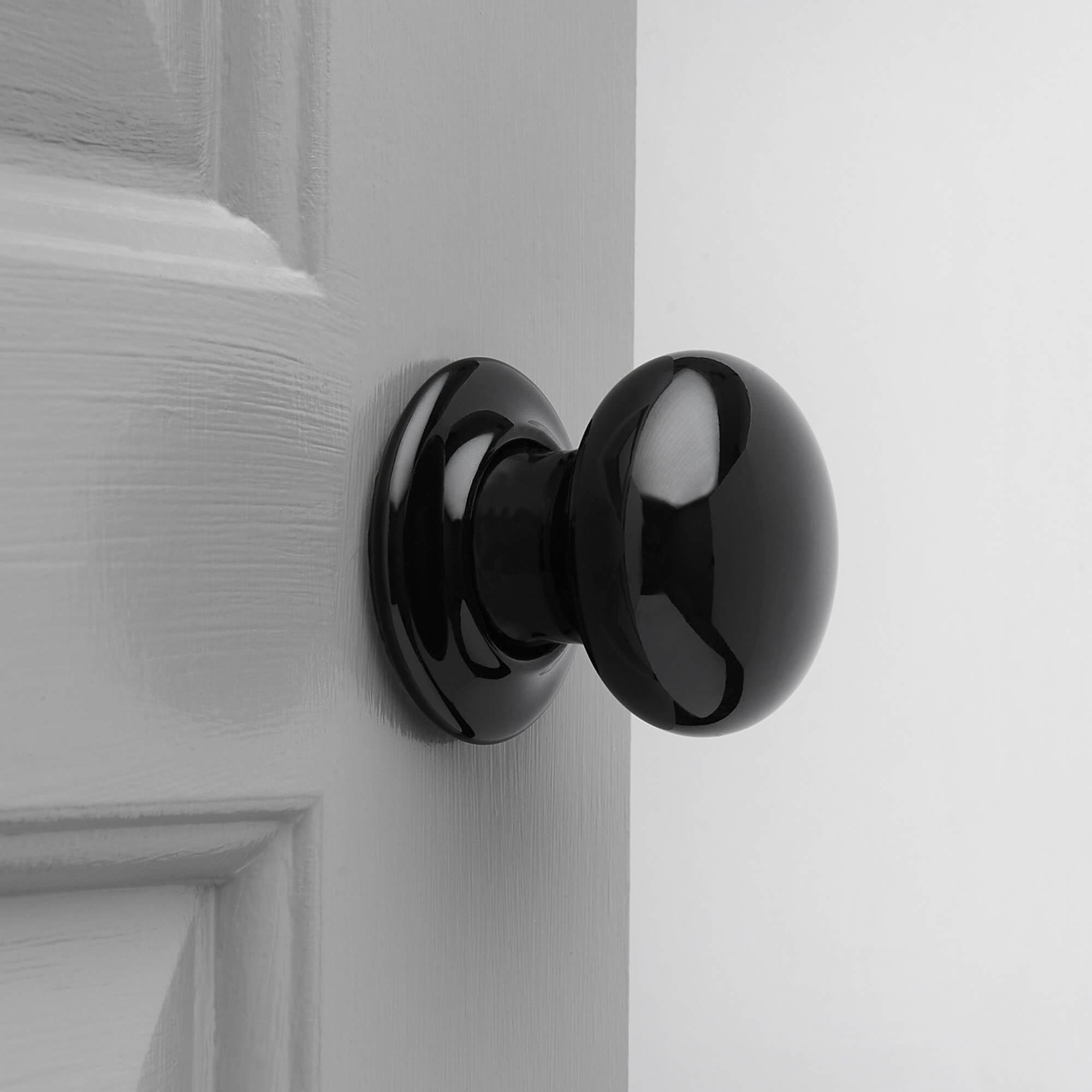 Porcelain Door Knobs (Pair) - Black