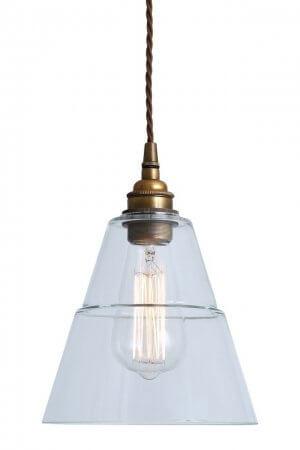 Industrial Glass & Brass Pendant Light SAVE 50%