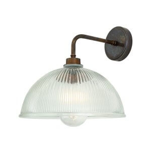Glass and Antique Brass Wall Light