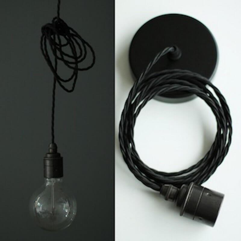 Vintage Style Pendant Set - Antique Finish & Raven Black Cable