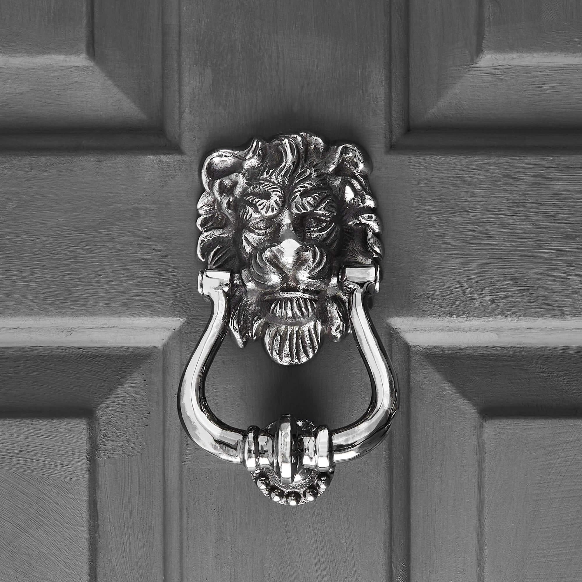Lions Head Door Knocker - Aged Nickel