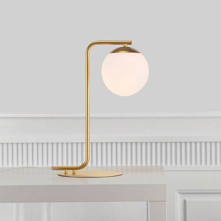 Opal Glass & Brass Table Lamp