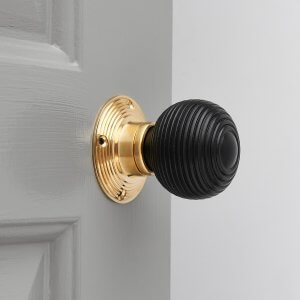 Ebonised Beehive Door Knobs (Pair) - Polished Brass Collar & Rose