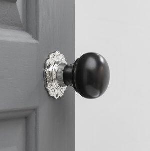 Ebony Bun Door Knobs (Pair) - Nickel Collar & Rose