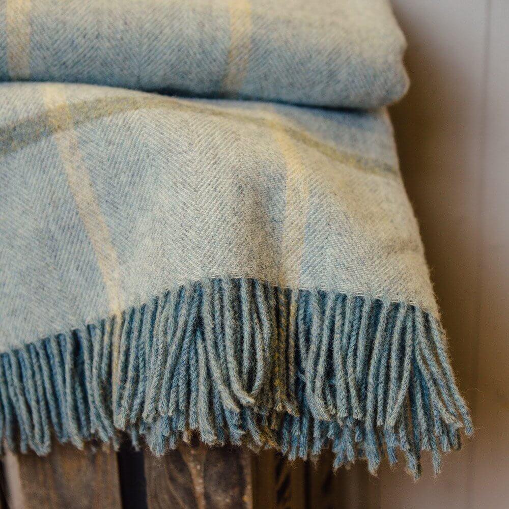 Aqua Windowpane Throw - Pure New Wool save 40%