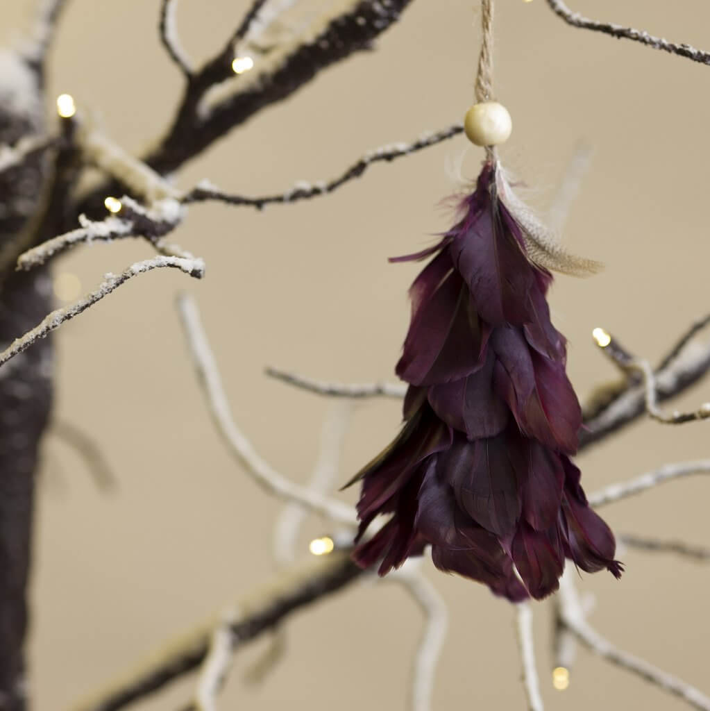 Feather Tree Decoration - Plum save 60%