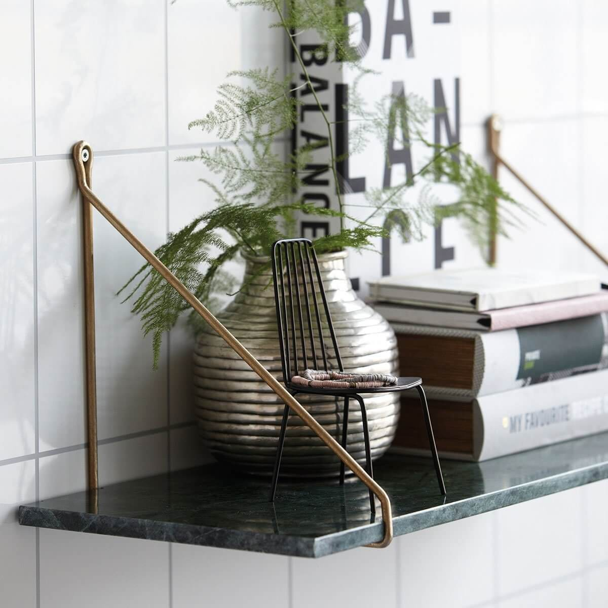 Green Marble Shelf with Brass Brackets - save 25%