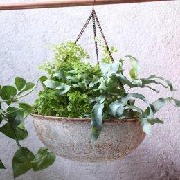 Round Hanging Planter - Aged Zinc
