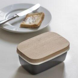 Enamel & Wood Butter Dish