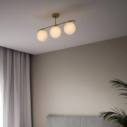 Opal Glass & Brass Trio Ceiling Light